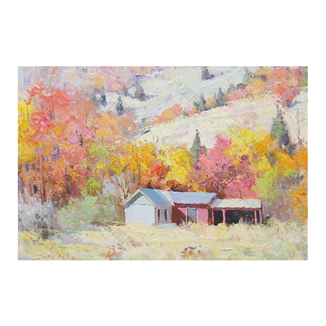 IARTS Hand Painted Quiet mountain village Oil Painting   with Stretched Frame For Home Decoration