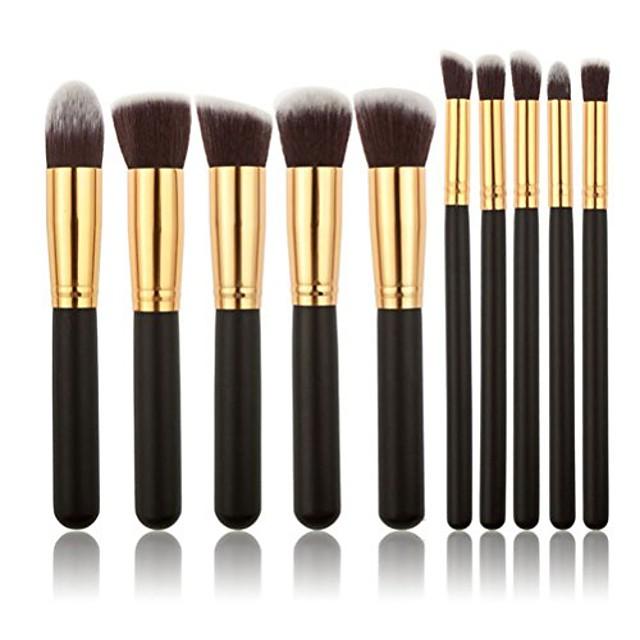 10pcs makeup brush set (black+gold)