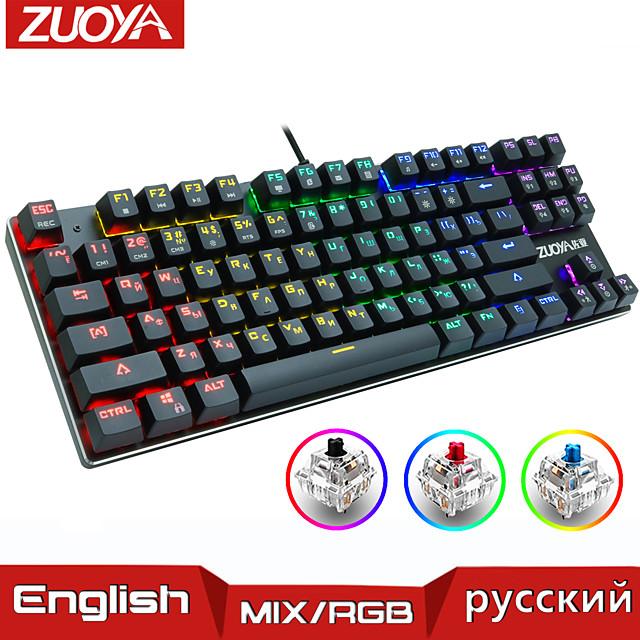 herní mechanická klávesnice modrá červená přepínač usb rgb / mix podsvícená kabelová klávesnice 87/104 anti-ghosting pro herní notebook pc ruský us