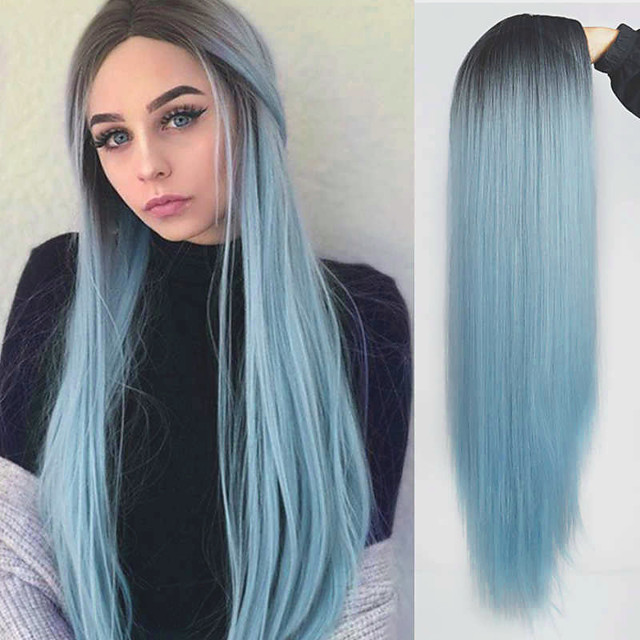 Synthetic Wig Natural Straight Middle Part Wig Medium Length Ombre Blue Synthetic Hair Women's Cosplay Party Fashion Blue