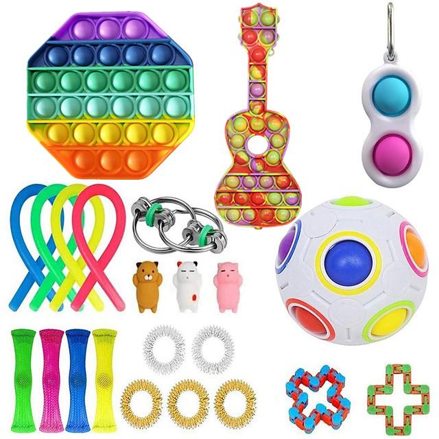 23 pcs Fidget Sensory Toy Set Stress Relief Toys Autism Anxiety Relief Stress Pop Bubble Fidget Sensory Toy For Kids Adults