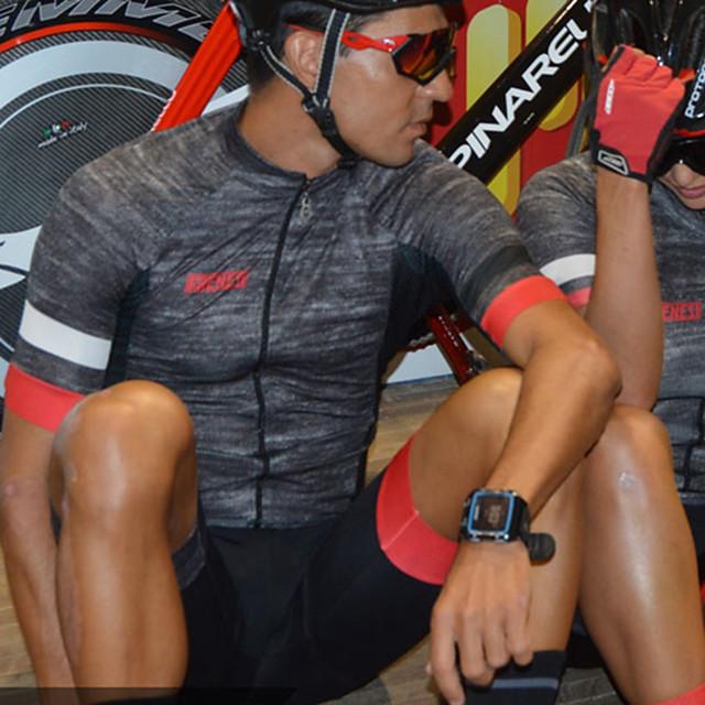 Women's Men's Short Sleeve Triathlon Tri Suit Summer Dark Grey Bike Quick Dry Breathable Sports Mountain Bike MTB Road Bike Cycling Clothing Apparel / Stretchy / Athletic