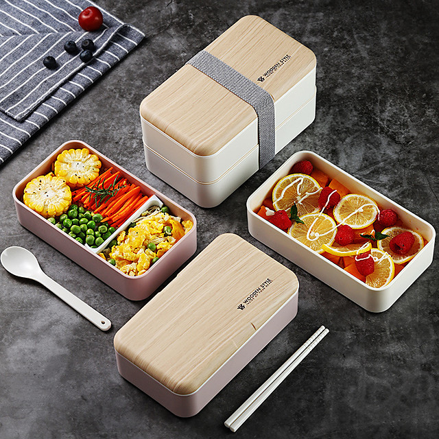 Double-layer Lunch Box Microwave Nordic Style Wooden Lid Office School Student Lunch Box Portable Plastic Lunch Box