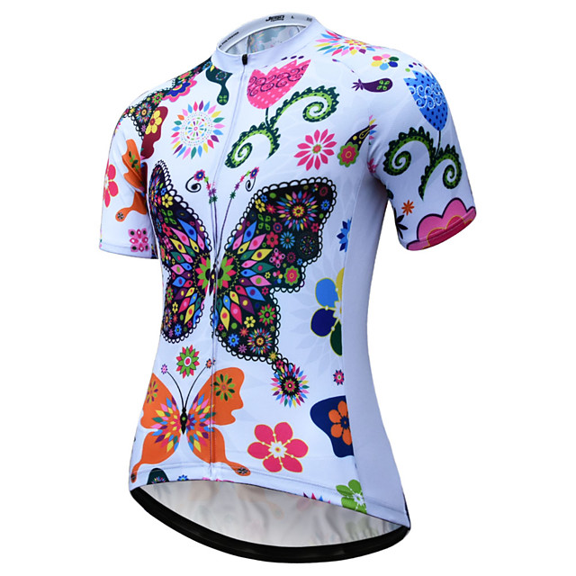JESOCYCLING Women's Short Sleeve Cycling Jersey Summer White Rainbow Bike Jersey Mountain Bike MTB Road Bike Cycling Quick Dry Breathable Back Pocket Sports Clothing Apparel / Stretchy