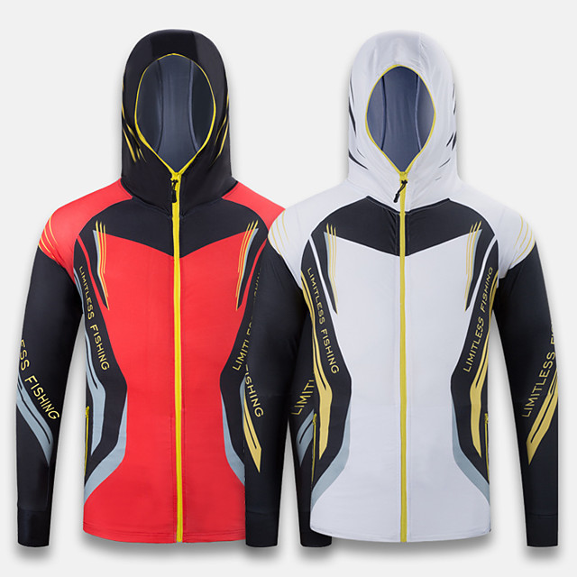Men's Hoodie Jacket Skin Coat Outdoor Quick Dry Lightweight Breathable Sweat-Wicking Jacket Spring Summer Fishing Camping & Hiking Cycling / Bike White Red / Ice Silk / Long Sleeve / Stretchy