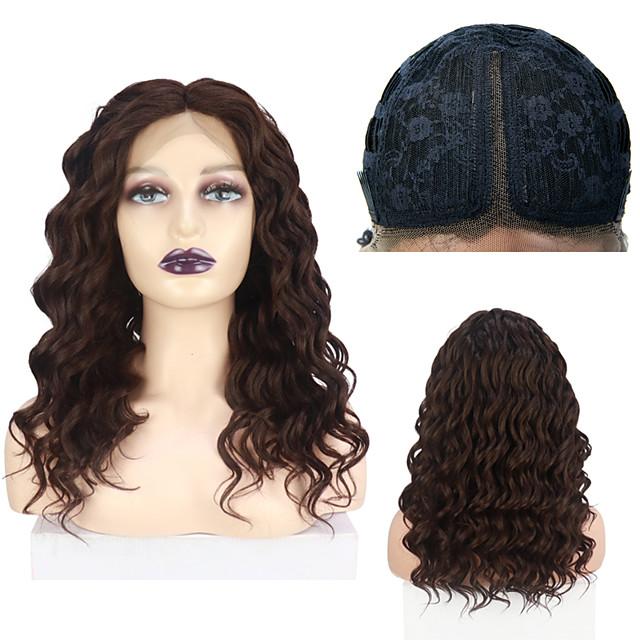 Spitze Front Perücken lockige synthetische Perücke für Frauen japanische hitzebeständige Faser 18 Zoll tiefe Teil Spitze Perücke freie Kappe