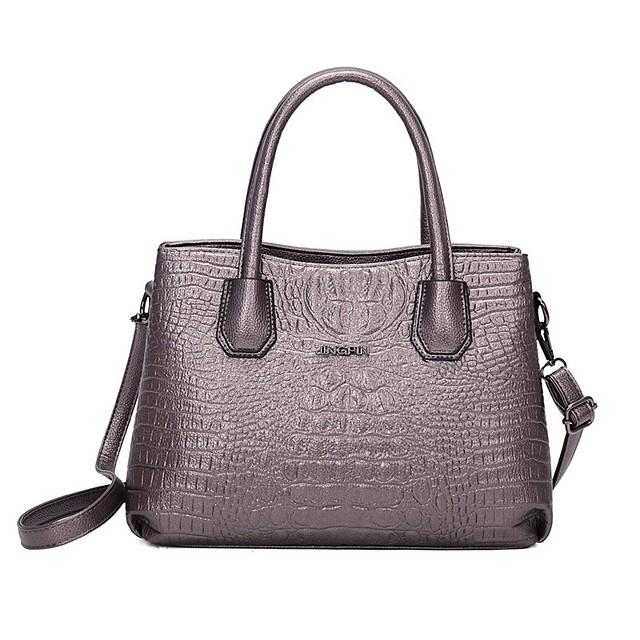 Women's Bags PU Leather Satchel Top Handle Bag Date Office & Career 2021 Handbags Black Purple Red Champagne