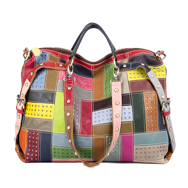 Women's Bags Cowhide Top Handle Bag Rivet Pattern Bohemian Style Mixed Color Special Design Daily Holiday Retro Floral Plaid Rainbow