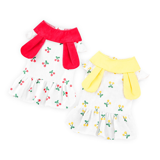 Dog Cat Dress Flower Rabbit / Bunny Basic Adorable Cute Casual / Daily Dog Clothes Puppy Clothes Dog Outfits Breathable Yellow Red Costume for Girl and Boy Dog Cotton Fabric S M L XL XXL