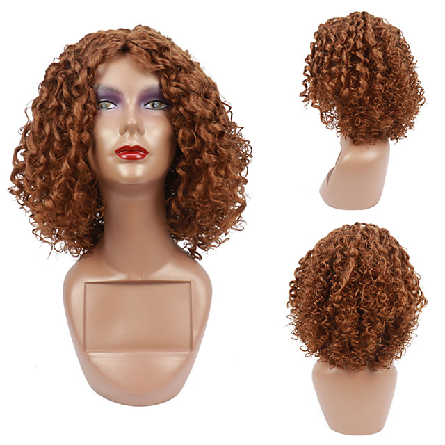 Afro Kinky Curly Wigs for Women High temperature Synthetic Wigs Medium long hair Heat Resistant Fiber Free Cap