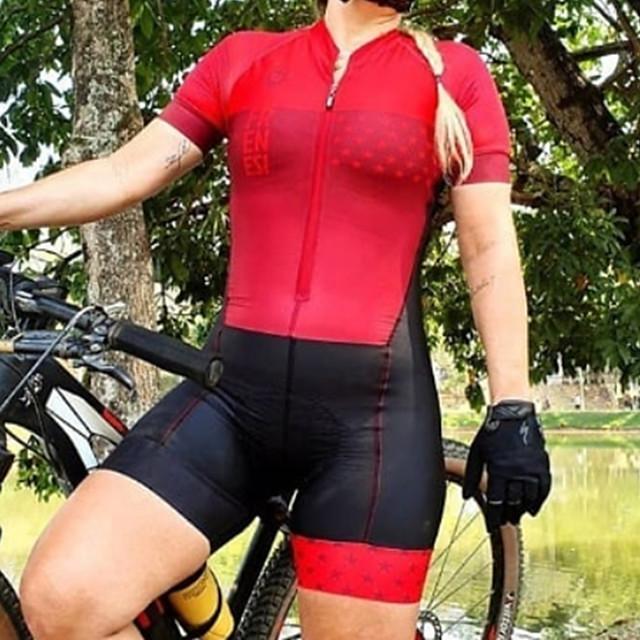 Femme Manches Courtes Combinaison Triathlon Triathlon Eté Polyester Rouge Mosaïque Vélo Séchage rapide Respirable Anti-transpiration Des sports Mosaïque VTT Vélo tout terrain Vélo Route Vêtement Tenue
