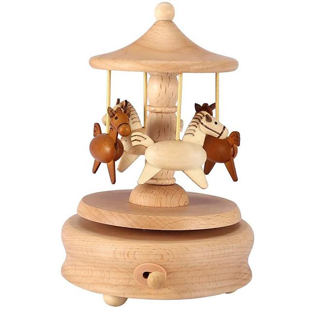 carusel music box wood carusel de cai music box turn turn horse wood craft crafts birthday home decor
