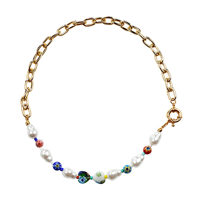 Women's Choker Necklace Beaded Necklace Beads Colorful Fashion Holiday Cute Pearl Acrylic Alloy Picture color 47 cm Necklace Jewelry 1pc For Gift Birthday Party Festival / Pearl Necklace