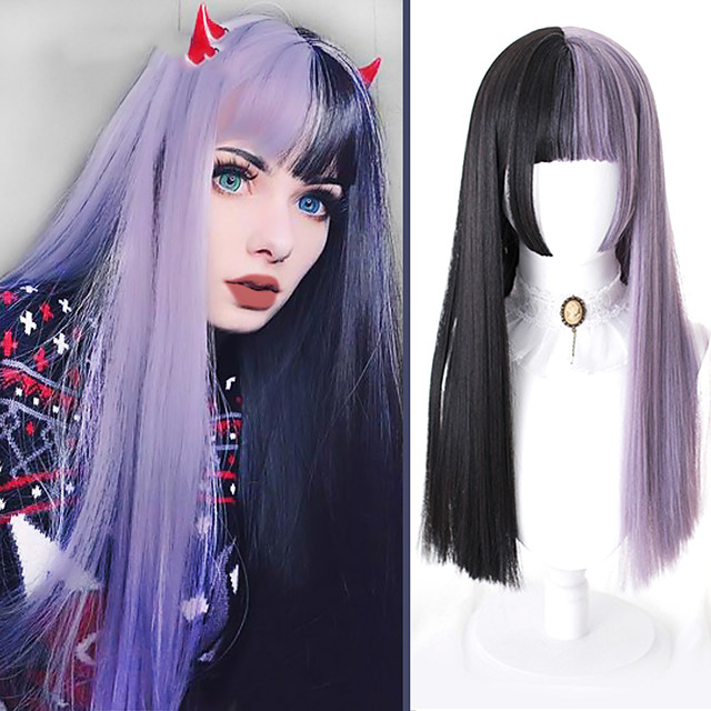 Long Straight Lolita Cosplay Wigs for Women Half Black Half Purple Synthetic False Hair with Bangs Halloween Party Wig Blunt Cut Bob