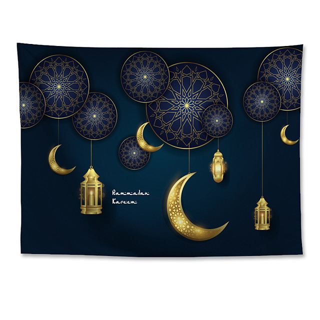Eid Mubarak Islamic Muslim Ramadan Wall Tapestry Art Decor Blanket Curtain Hanging Home Bedroom Living Room Decoration Polyester Golden Moon
