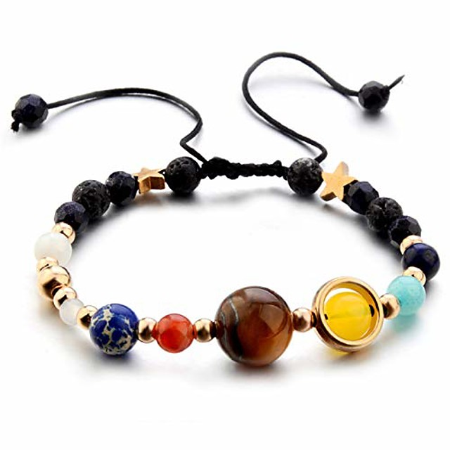 planet bracelet solar system universe galaxy bracelet handmade natural stone bead bracelet string adjustable astronomy gifts
