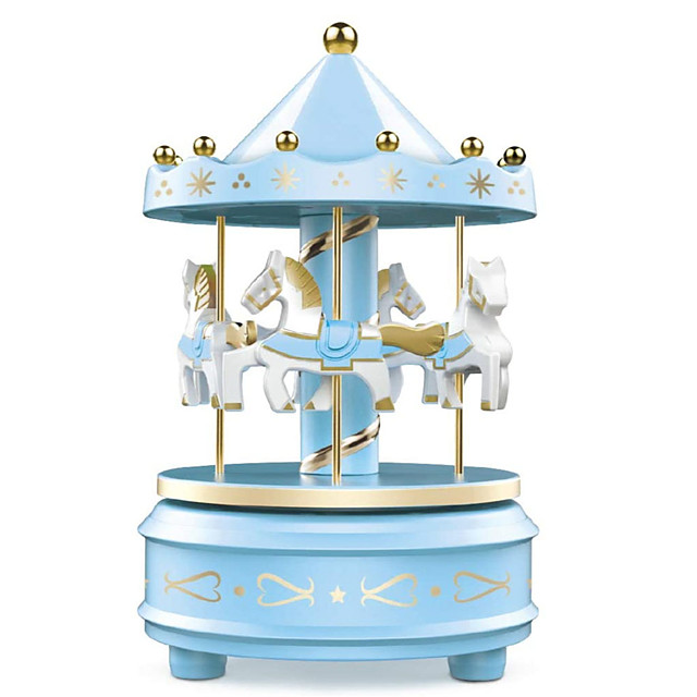 Carousel Music Box - Easy Twist, Pink/Blue - 4 Horse Classic Decor, Melody Beethoven's Fur Elise, Fall Asleep to Music Lights or Decorate Your Cake