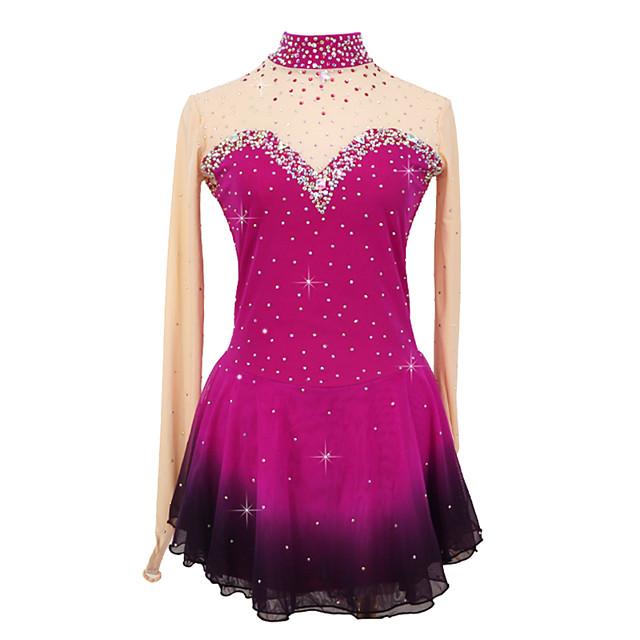 Figure Skating Dress Women's Girls' Ice Skating Dress Rose Red Patchwork Asymmetric Hem Spandex High Elasticity Competition Skating Wear Crystal / Rhinestone Long Sleeve Ice Skating Figure Skating