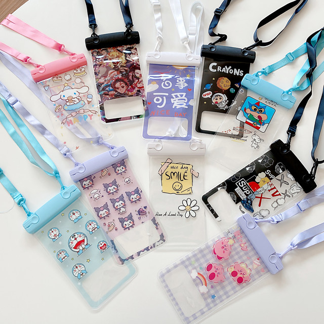 Phone Case For Samsung Xiaomi Apple Waterproof Pouch Universal Water Resistant Translucent Cartoon Animal TPU PC