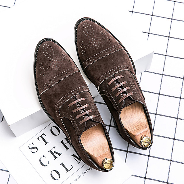 Men's Oxfords Suede Shoes Printed Oxfords Bullock Shoes Business Daily Walking Shoes Suede Breathable Non-slipping Wear Proof Black Brown Spring