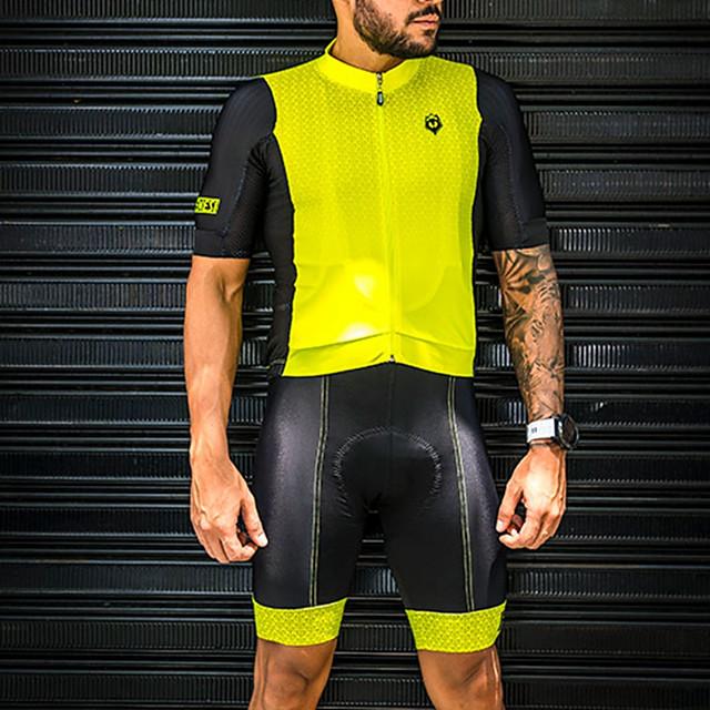Women's Men's Short Sleeve Triathlon Tri Suit Summer Black / Yellow Bike Quick Dry Breathable Sports Mountain Bike MTB Road Bike Cycling Clothing Apparel / Stretchy / Athletic