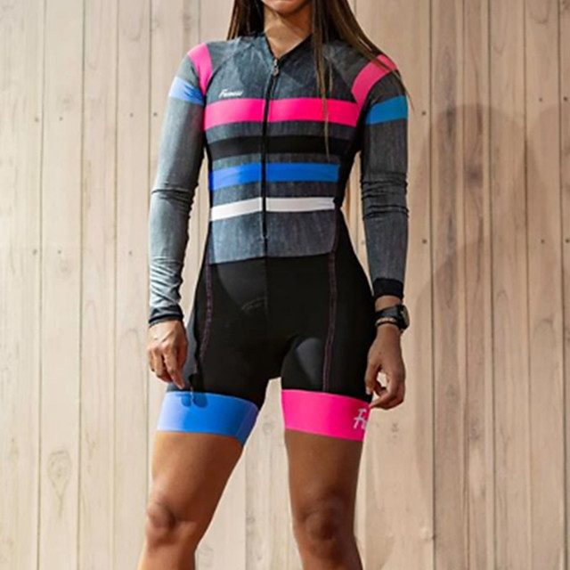 Women's Men's Long Sleeve Triathlon Tri Suit Summer Grey Stripes Bike Quick Dry Breathable Sports Stripes Mountain Bike MTB Road Bike Cycling Clothing Apparel / Stretchy / Athletic