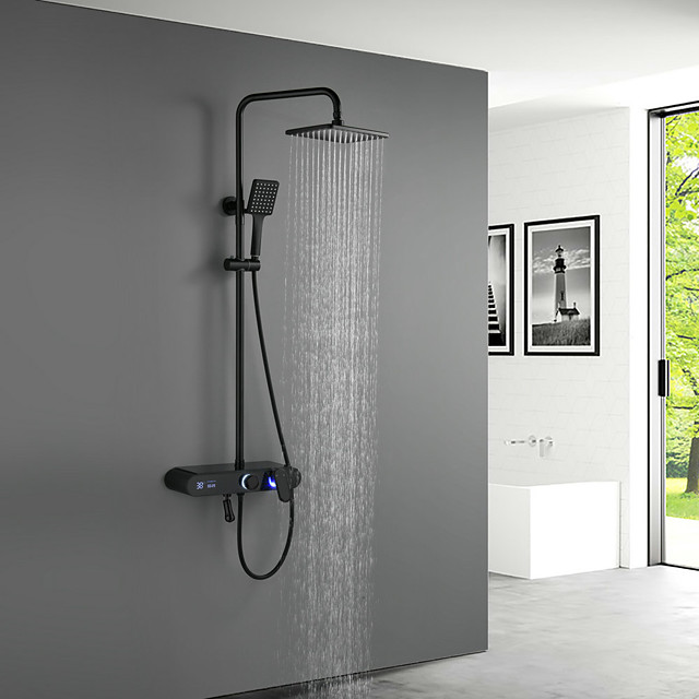 Shower System Set - Handshower Included LED Rainfall Shower Contemporary Electroplated / Painted Finishes Mount Outside Ceramic Valve Bath Shower Mixer Taps