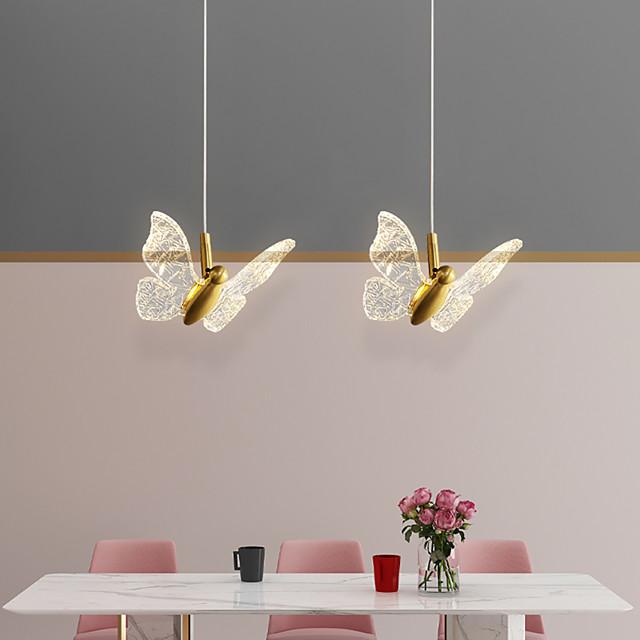 LED Pendant Light Bedside Light Butterfly Design Modern Nordic 17 cm Single Design Copper Brass 110-240 V