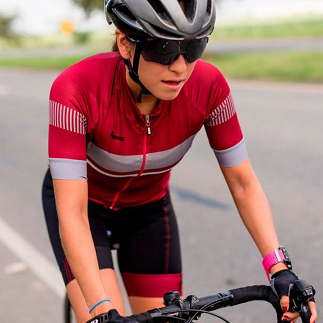 Women's Men's Short Sleeve Triathlon Tri Suit Summer Red Patchwork Bike Quick Dry Breathable Sports Patchwork Mountain Bike MTB Road Bike Cycling Clothing Apparel / Stretchy / Athletic