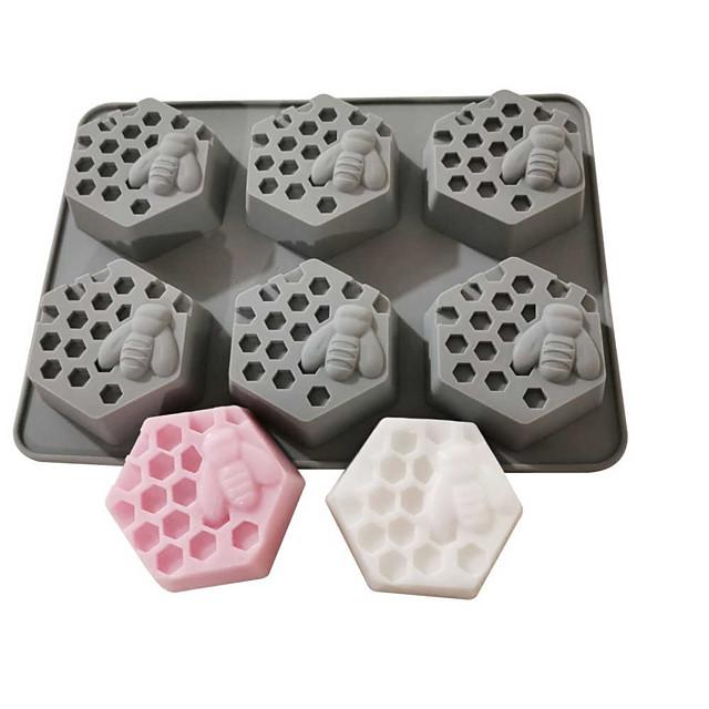 Honeycomb Mold 6 Bees Diamond Honeycomb Handmade Soap Silicone Mold Diy Silicone Soap Mold Hexagonal Square Honeycomb Mold
