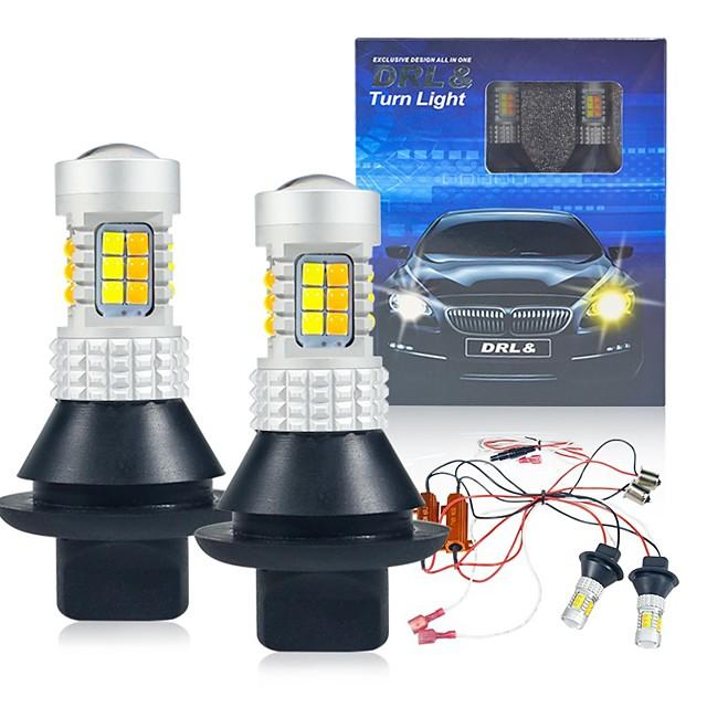 2st / set P21W BA15S BAU15S PY21W 7440 W21W WY21W T20 1156S25 30LED Dags körning Ljussignal Dual Mode DRL LED externa lampor
