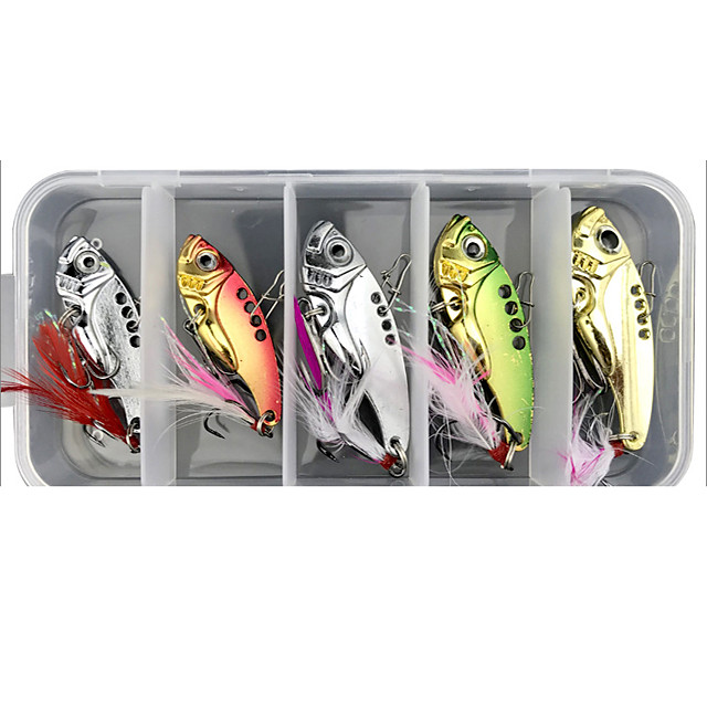 5 pcs Lure kit Fishing Lures Vibration / VIB lifelike with Feather Floating Sinking Bass Trout Pike Sea Fishing Lure Fishing Freshwater and Saltwater