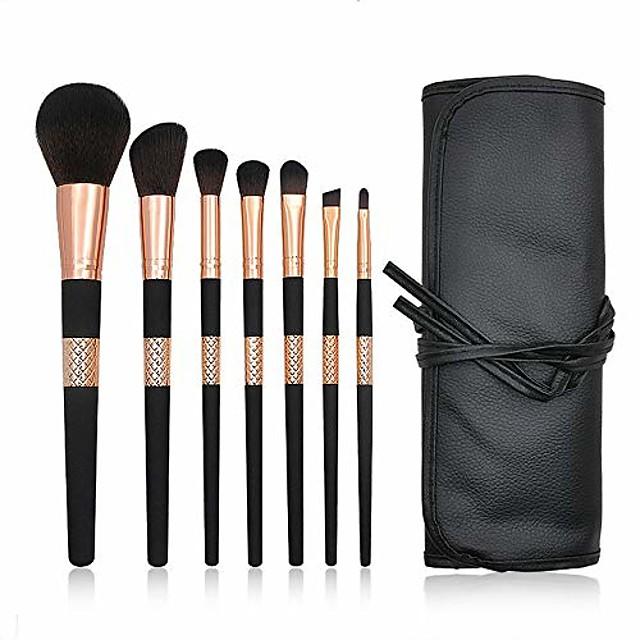 makeup brush make up brushes 7 pcs professional synthetic lip eyeshadow eyeliner foundation powder cosmetic brushes kit with pu leather bag brush sets (color : black, size : 10x23x4cm)