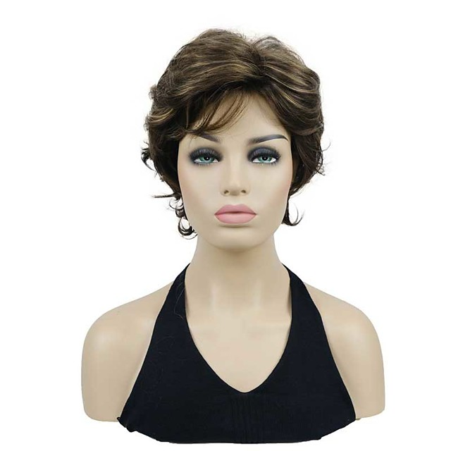 Natural Look Short Curly Brown/Auburn Highlights Synthetic Wig for Women Mother's Day gift