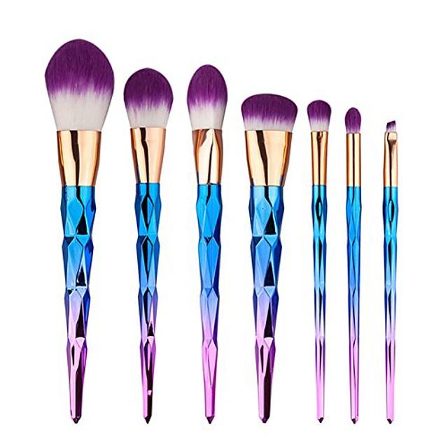 makeup brushes set 7pcs foundation blending blush concealer eye face liquid powder cosmetics set premium electroplated handle (purple)