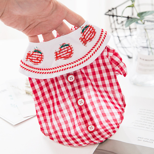Dog Cat Shirt / T-Shirt Plaid Basic Adorable Cute Casual / Daily Dog Clothes Puppy Clothes Dog Outfits Breathable Red Blue Costume for Girl and Boy Dog Cotton Fabric XS S M L XL
