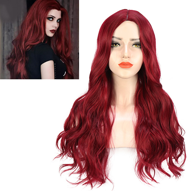 Natural Body Wavy Wig Cosplay Party Daily Synthetic Wig for Women High Density Temperature Fibre Free Cap