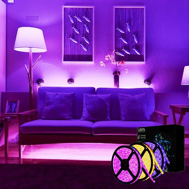 LED Strip Lights 15M(3x5M) RGB Tiktok Lights 2835 SMD 900 LEDs 8mm Strip Flexible Light LED Tape waterproof AC 12V 600LEDs with 44Key IR Remote Controller Kit