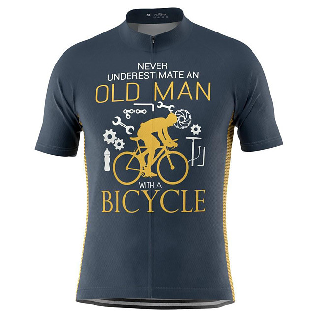 21Grams Men's Short Sleeve Cycling Jersey Summer Light Yellow Blue Yellow Bike Top Mountain Bike MTB Road Bike Cycling Breathable Sports Clothing Apparel / Stretchy / Athletic