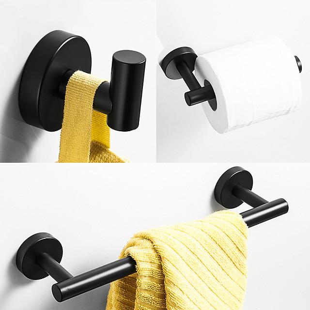 аксессуары для ванной комнаты материал из нержавеющей стали одинарный полотенцесушитель крючок для халата и держатель toliet papaer окрашенная отделка матовый черный