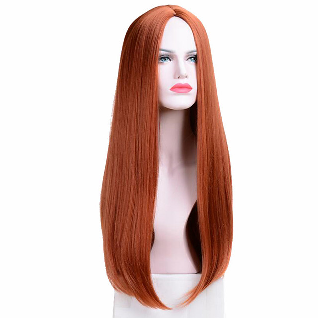 Long Straight Wigs Synthetic Orange Color Women's Wig Cospaly Central Part Hair Silver Grey White Red Colour
