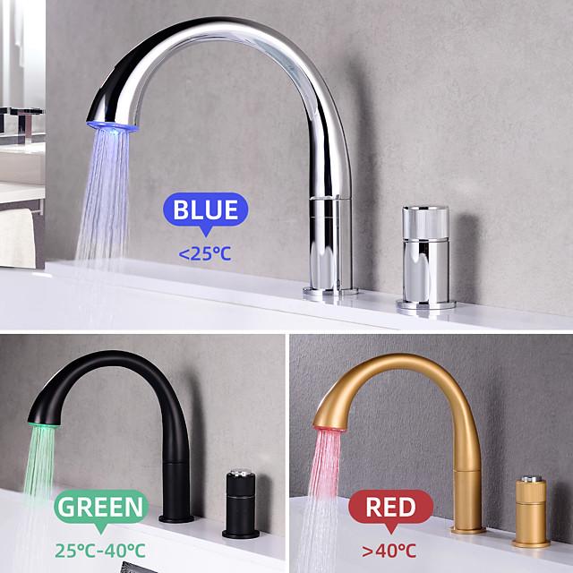 Håndvasken vandhane - Roterbar / LED Nikkel Børstet / Galvaniseret / Malede finish Udspredt To Håndtag To hullerBath Taps