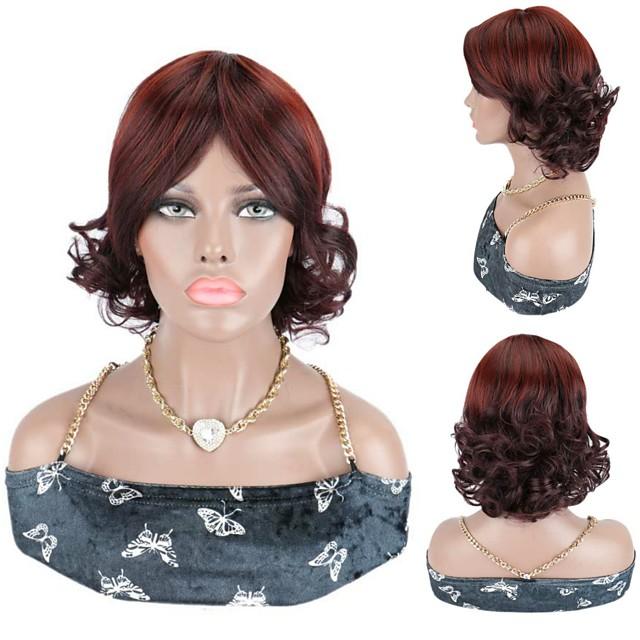 Short Wigs Short Bouncy Curl Wigs Synthetic Hair Wigs 99J Burgundy Red Wigs For Women