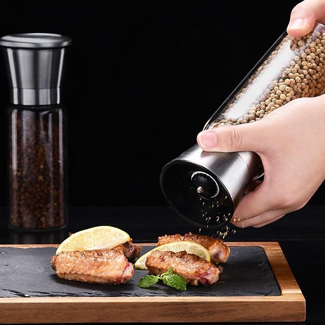 Creative Stainless Steel Mill Salt Pepper DIY Manual Bottle Grinder Glass Kitchen Tool Pepper Grinder Bottle