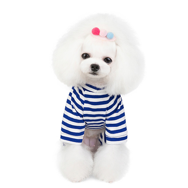 Dog Cat Dog clothes Stripes Animal Stripes Animal Dailywear Casual / Daily Dog Clothes Puppy Clothes Dog Outfits Breathable Blue Pink Orange Costume for Girl and Boy Dog Padded Fabric S M L XL XXL