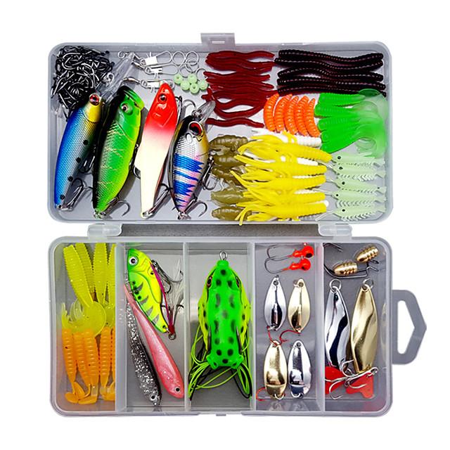 109 pcs Lure kit Fishing Lures Hard Bait Soft Bait Spoons Minnow Pencil Popper Vibration / VIB lifelike 3D Eyes Bass Trout Pike Sea Fishing Lure Fishing Freshwater and Saltwater