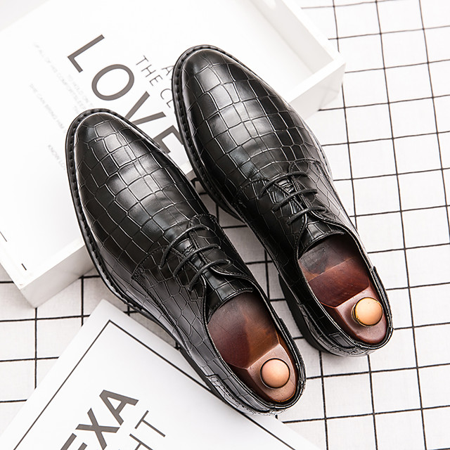 Men's Oxfords Leather Shoes Printed Oxfords Business Vintage Classic Daily Party & Evening Nappa Leather Cowhide Non-slipping Wear Proof Booties / Ankle Boots Black Brown Spring Summer