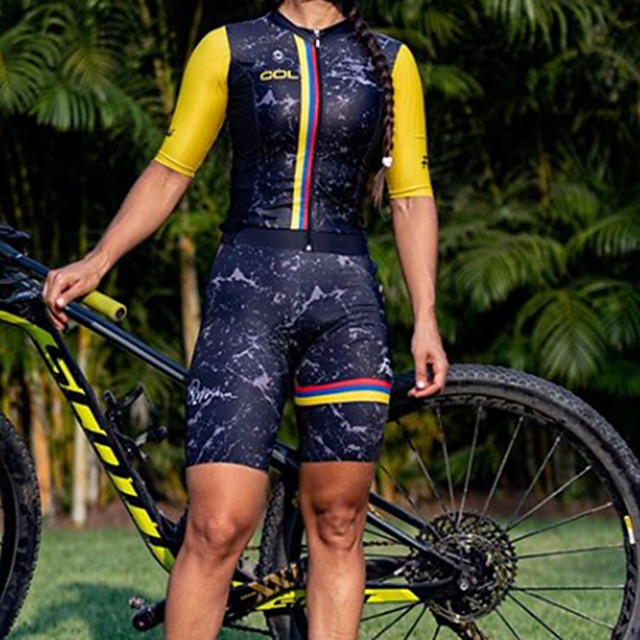 Women's Men's Short Sleeve Triathlon Tri Suit Summer Black / Yellow Patchwork Bike Quick Dry Breathable Sports Patchwork Mountain Bike MTB Road Bike Cycling Clothing Apparel / Stretchy / Athletic