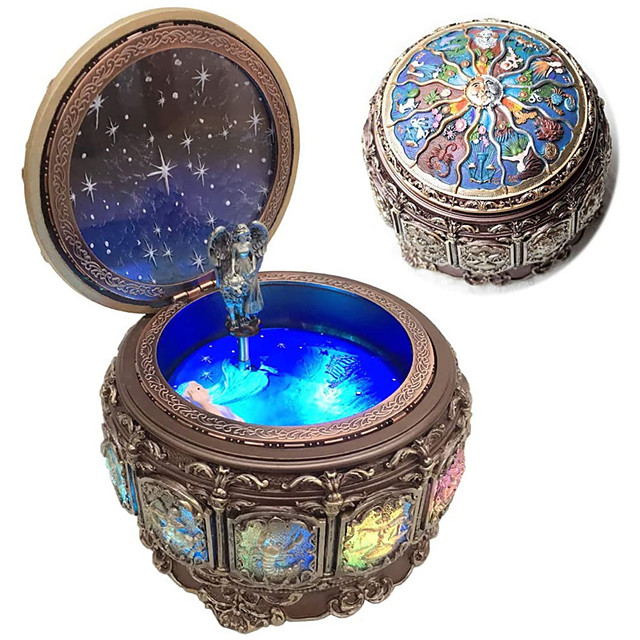Vintage Music Box with Constellations Rotating Goddess LED Lights Twinkling Resin Carved Mechanism Musical Box with Sankyo 18-Note Wind Up Signs of The Zodiac Gift for Birthday (Upgraded)