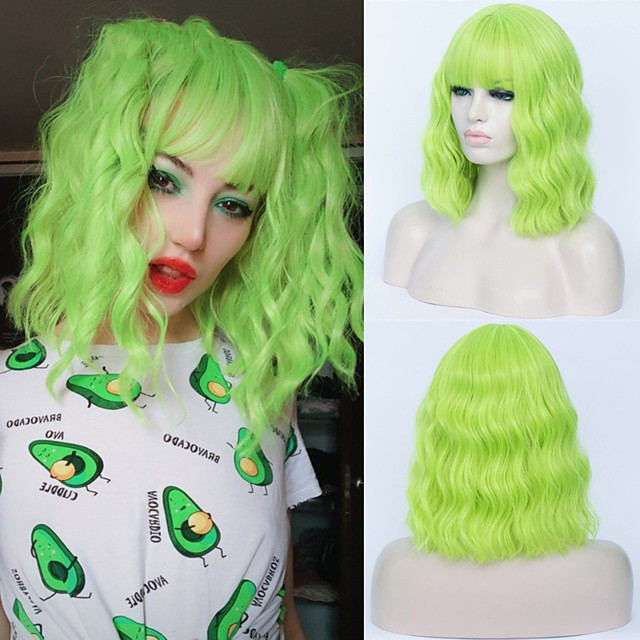 Synthetic Wig Curly Neat Bang Wig Short Green Synthetic Hair Women's Cosplay Party Fashion Green